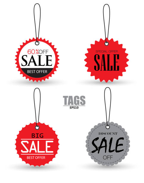 ilustrações de stock, clip art, desenhos animados e ícones de set of sale tags with. vector labels special offer for design banners and flyers - tag vector