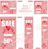Set of sale valentines day web banner. Graphic element Good idea for retail flyer, special offer. Vintage background, advertising product poster, 50 percent off discount sticker. Vector illustration.