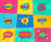 Set of Sale Vector illustrations. Comic speech bubbles in pop-art style: Sale, Percentage, New, 50 Percent off, Discount, Best Price, Cool, Wake up. Collection of different comic background.
