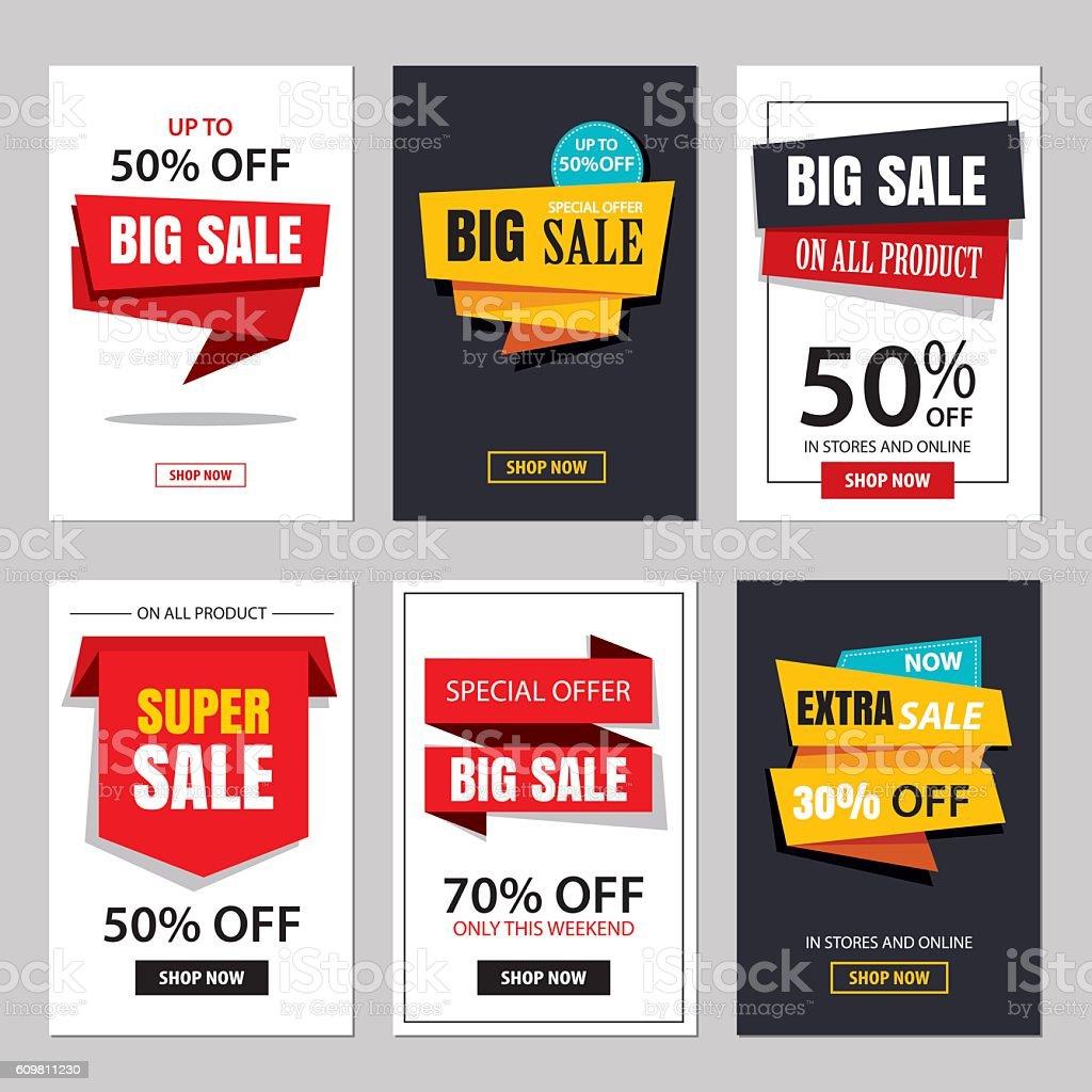 Set of sale website banner templates.Social media banners – Vektorgrafik