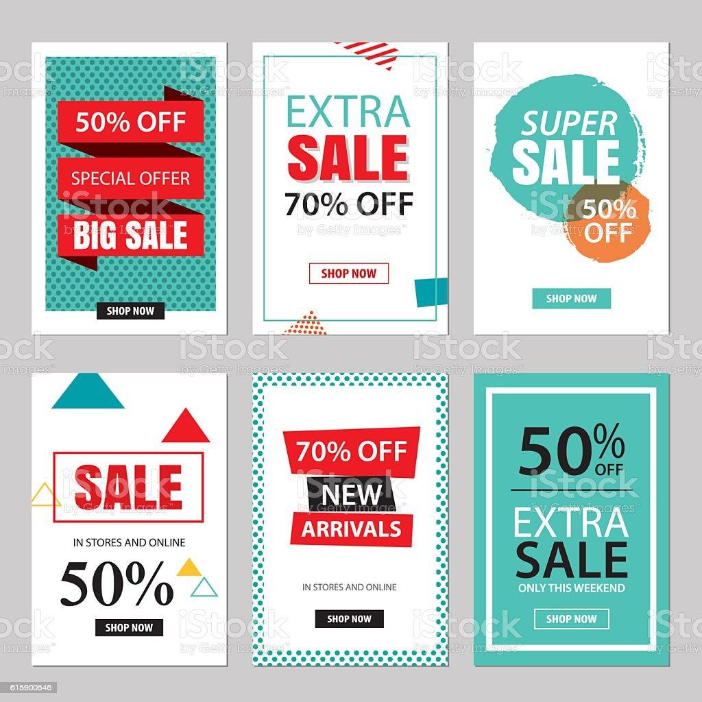 Set of sale website banner templates.Social media banners vector art illustration