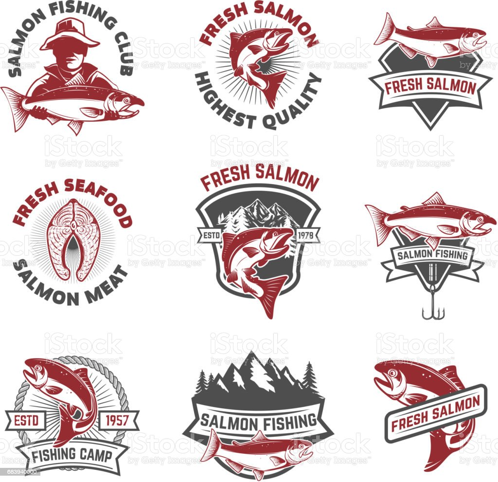 Set of salmon fishing emblems. Design elements for label, sign. Vector illustration. vector art illustration