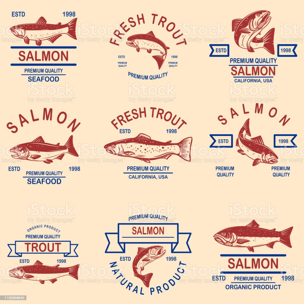 Set of salmon, trout seafood labels. Design element for label, sign,...
