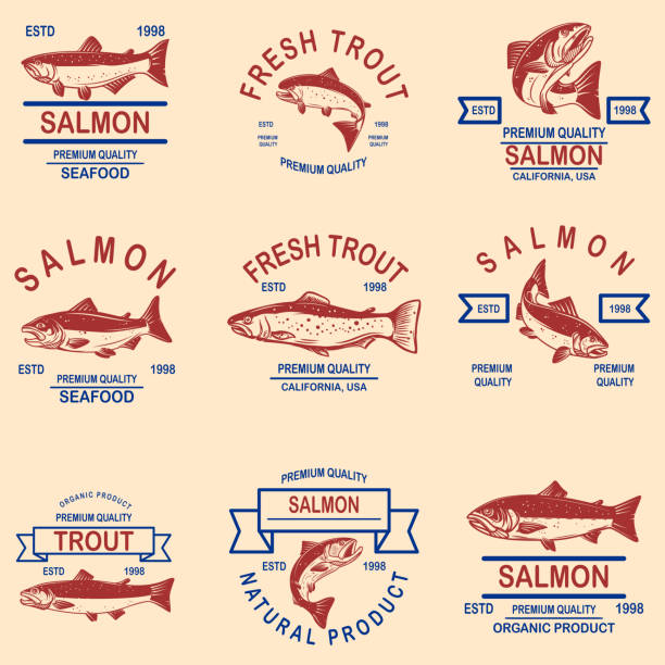 stockillustraties, clipart, cartoons en iconen met set van zalm, forel zeevruchten labels. design element voor label, sign, poster, banner. - roofdieren