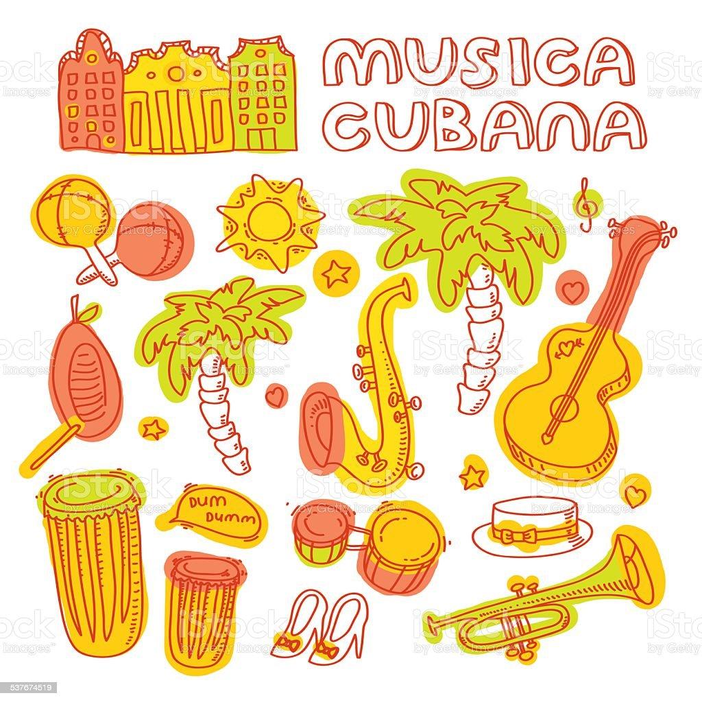 Set of salsa instruments vector art illustration