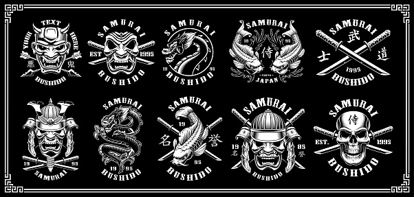 Set of samurai emblems on dark background