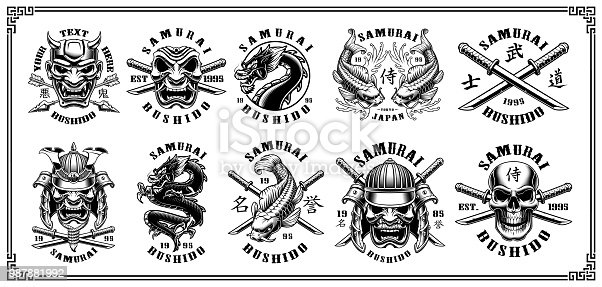 Set of vintage samurai warrior emblems, badges, icons, shirt designs. Text is on the separate layer. VERSION FOR WHITE BACKGROUND.