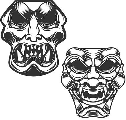 set of samurai masks. Design elements for label, sign. Vector illustration.