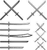 Set of samurai swords. Design element for label, emblem, sign. Vector illustration.