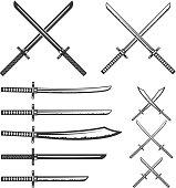 Set of samurai swords. Design element for label, emblem, sign. Vector illustration.