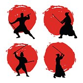 Set of Samurai Warriors Silhouette on red moon.