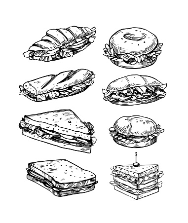 Set of  sandwiches filled with vegetables, cheese, meat, bacon. Vector illustration in sketch style. Fast food