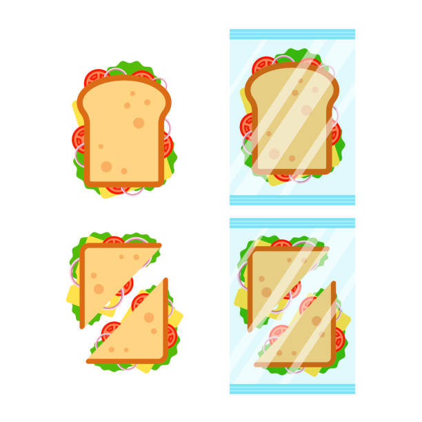 illustrazioni stock, clip art, cartoni animati e icone di tendenza di set of sandwiches top view with tomato, onion, salad, cheese isolated on white background. sandwich triangle and rectangle in transparent packaging, snack for breakfast and lunch, flat vector illustration - panino