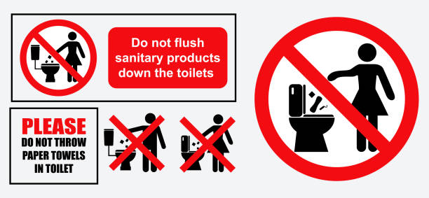 set of sanitary sign set of sanitary sign. easy to modify flushing toilet stock illustrations