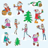 Vector set of Santa Claus and Snow Maiden. Colorful sketch of event creatures