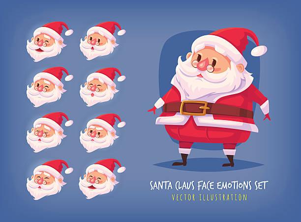 set of santa claus face emotions icons cartoon faces collection - smileys zum kopieren stock-grafiken, -clipart, -cartoons und -symbole
