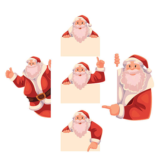set of santa claus holding a sign, giving thumbs-up - old man showing thumbs up cartoons stock illustrations, clip art, cartoons, & icons