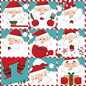 Set of Santa Claus in red costume with different emotions