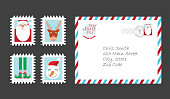 Vector illustration of a Set of Santa Claus letter and collection of Christmas stamps. Includes written envelope and stamps with cute Santa, Reindeer, Elf legs and Snowman.  Easy to edit. Vector EPS 10.
