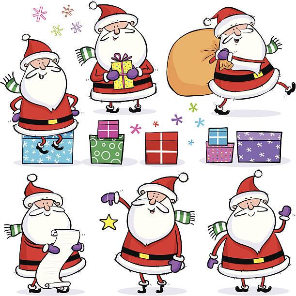 illustrazioni stock, clip art, cartoni animati e icone di tendenza di set di santas - santa claus tiptoeing