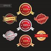 Set of satisfaction guarantee and premium quality emblem or badge