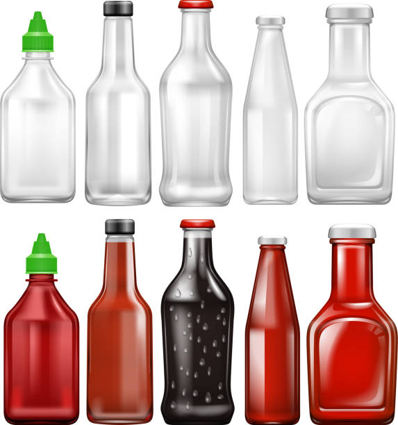Set Sauce Flasche – Vektorgrafik