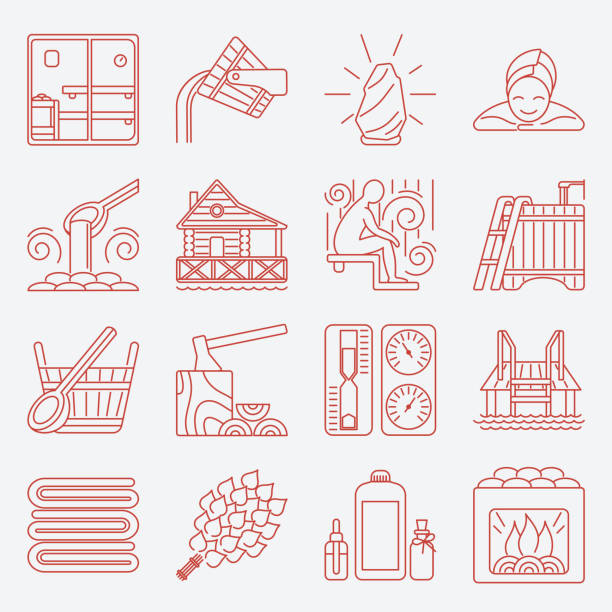 set of sauna line icon - sauna stock-grafiken, -clipart, -cartoons und -symbole