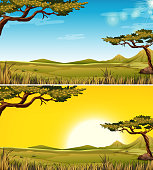 Set of Savanna landscape illustration