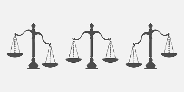 Set Of Scales Balance Isolated On White Background Vector