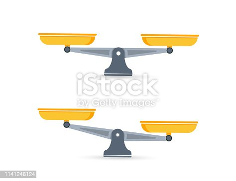 Set of scales. Bowls of scales in balance, an imbalance of scales. Libra, vector illustration