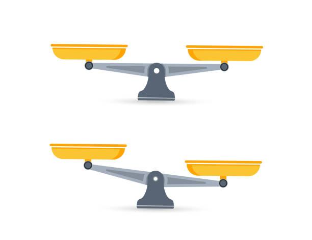 waage. schalen der schuppen im gleichgewicht, ein ungleichgewicht der skalen. waage, vektordarstellung - gleichgewicht stock-grafiken, -clipart, -cartoons und -symbole