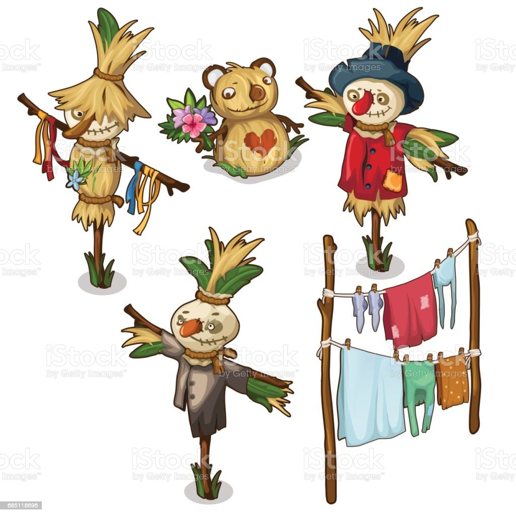 Set of scarecrow, straw toys and drying clothes royalty-free set of scarecrow straw toys and drying clothes stock vector art & more images of adult