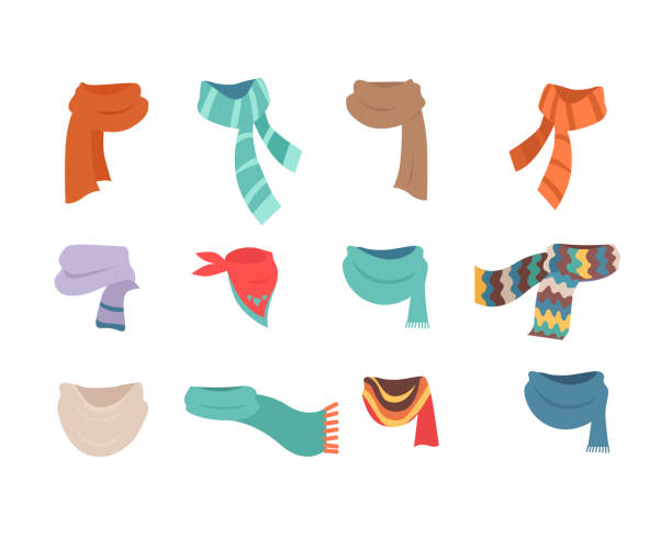 ilustrações de stock, clip art, desenhos animados e ícones de set of scarves for cold weather to boys and girls - cachecol