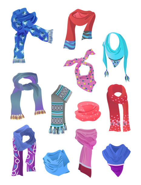 Set of scarves for girls Set of scarves for girls , for spring and winter, different colors, shapes, isolated on white background. headscarf stock illustrations