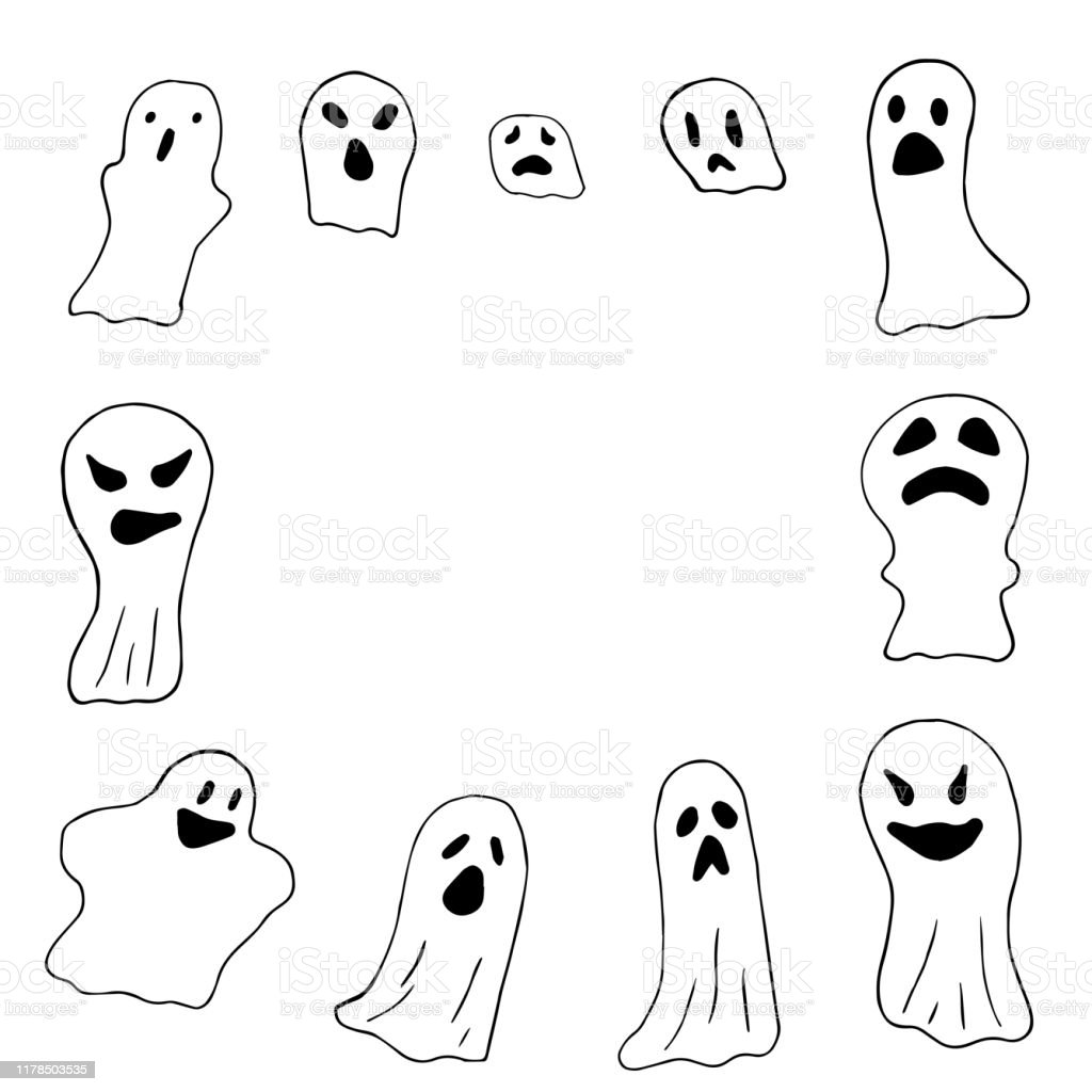 Set Of Scary Ghosts Line Drawing Border Happy Halloween Horror