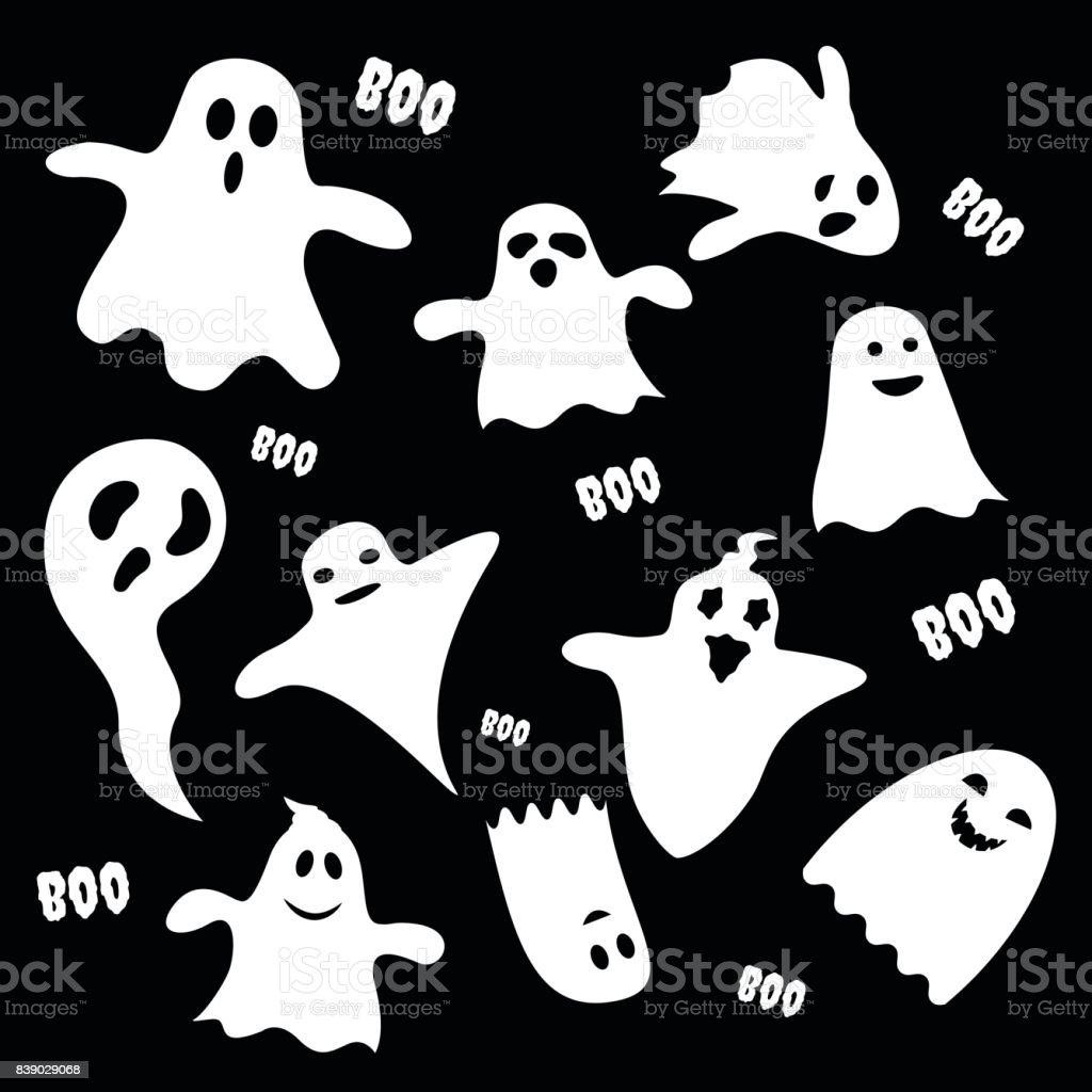 Jeu de caractères effrayants fantôme blanc sur fond noir, icône plate fête de Halloween. Illustration vectorielle - Illustration vectorielle