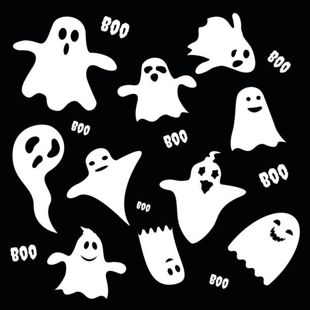 illustrazioni stock, clip art, cartoni animati e icone di tendenza di set of scary white ghost characters on black background, halloween holiday flat icon. vector illustration - thriller