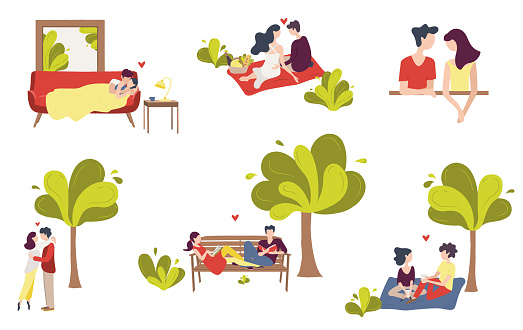 Set of scenes of couples of young people in love.