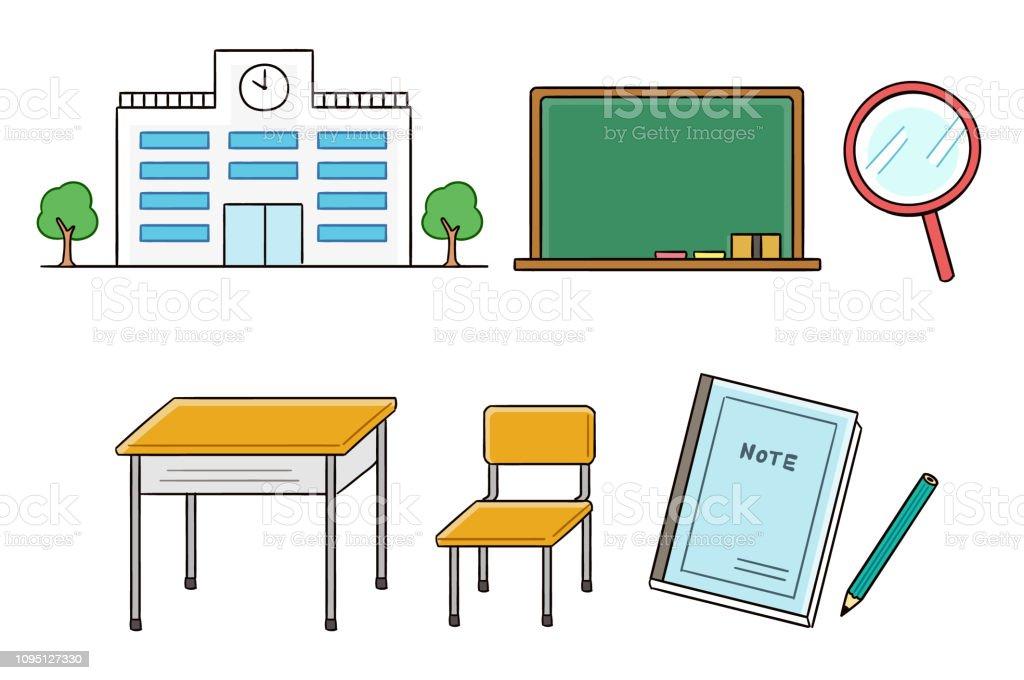 学校・学級の要素のセット ベクターアートイラスト