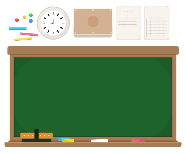 学校黒板とチョーク等のセット ベクターアートイラスト
