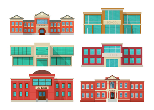 Set of school buildings exterior. Public educational institution front view.
