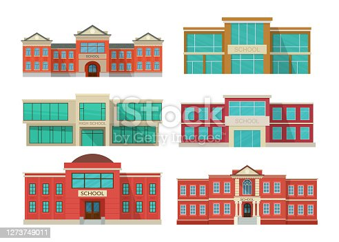 Set of school buildings exterior. Public educational institution front view. Education concept. Vector illustration isolated on white background.
