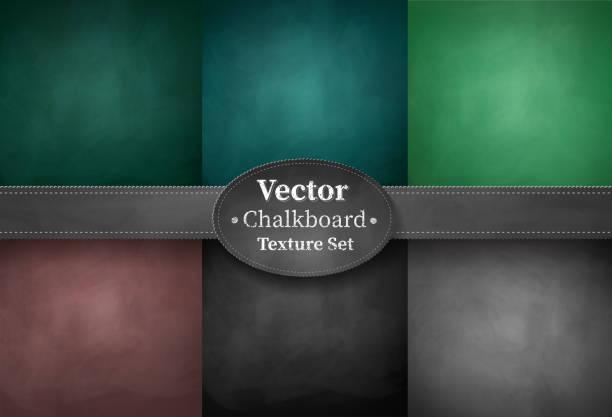 set of school chalkboard backgrounds - классная доска stock illustrations