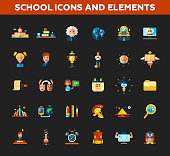 Set of school, college flat design icons and infographics elements