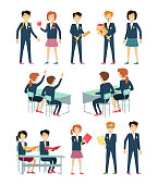 Set of school education situation. Set of illustrations with learning process, pupils in school uniform, pupils at school desk, school situation, school subject. Schoolgirl and schoolboy personage.