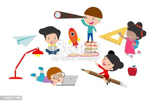 set of school kids in education concept, back to school Vector Illustration.