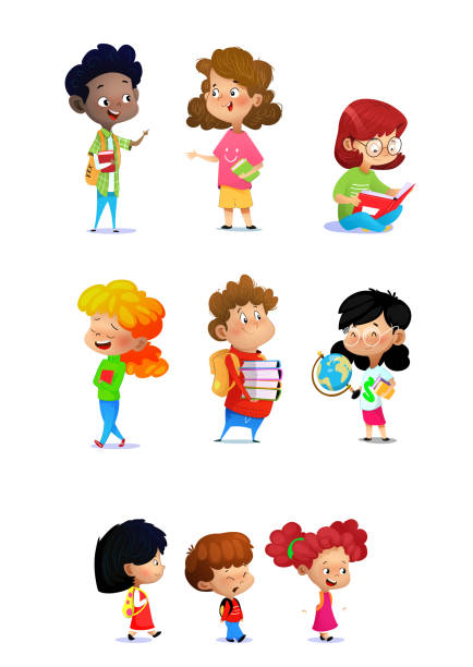 Set of school kids in education concept on white background Set of school kids in education concept on white background, back to school Vector illustration elementary age stock illustrations