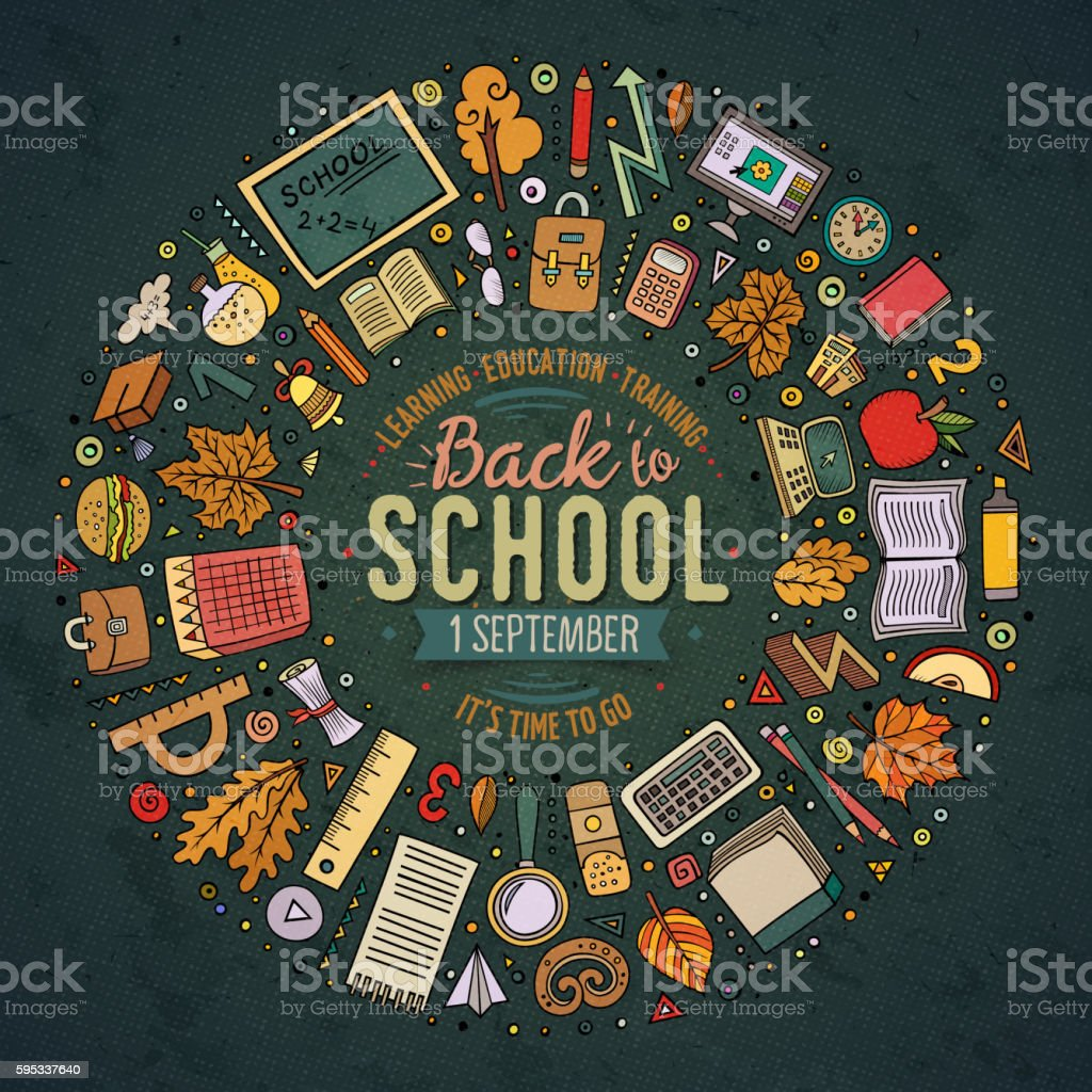 Set of School objects, symbols and items vector art illustration