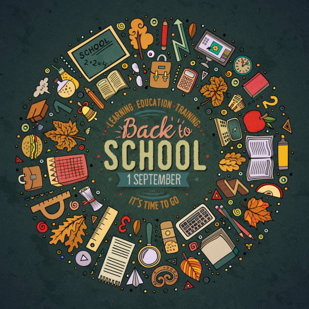 Set of School objects, symbols and items - Illustration vectorielle