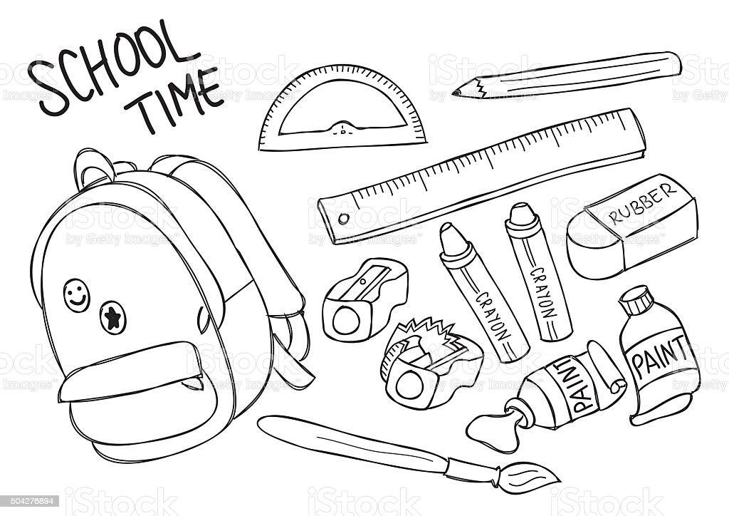 Line Drawing School : Set of school supplies line art stock vector more